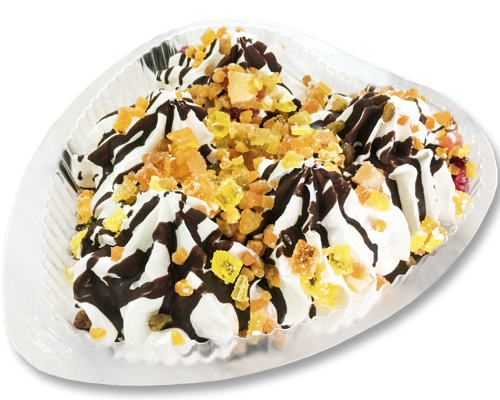 """Пломбир (торт-сердце) """"Кармелита"""" ванильный с шоколадной глазурью, мармеладом и фруктами"""