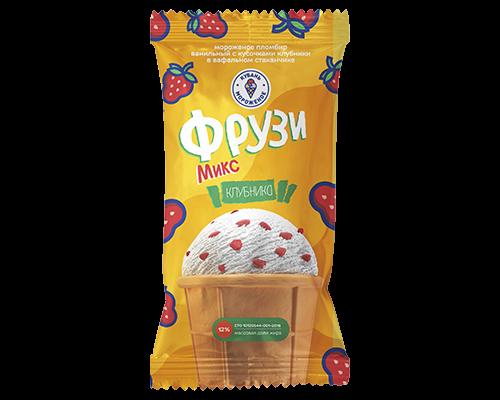 """Мороженое пломбир ванильный с кусочками клубники """"Фрузи"""""""