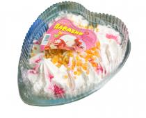 Пломбир (торт-сердце)  ванильный с клубничным джемом и мармеладом
