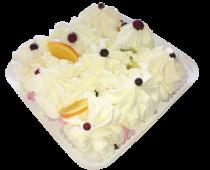 """Пломбир (торт) """"Сладкие грезы"""" ванильный декорированный фруктами и шоколадной глазурью"""