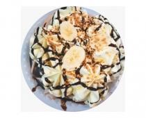 Пломбир (торт) двуслойный  шоколадный с ароматом банана,декорированный кусочками банана,шоколадным топингом и арахисом