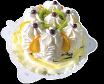 Пломбир (торт) ваниль с фруктами и шоколадной глазури