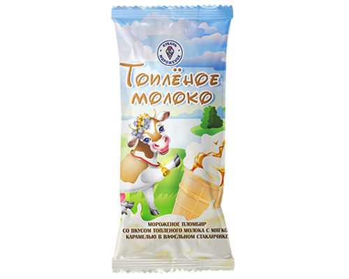 Мороженое пломбир со вкусом топленого молока с мягкой карамелью