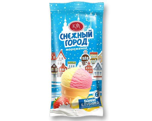 Мороженое с ароматом банана и клубники в вафельном стаканчике  Новинка!