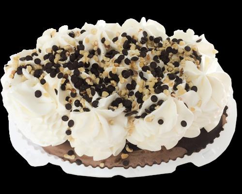 Торт-пломбир ванильно-шоколадный с шоколадной глазурью, орехами и шоколадной крошкой