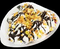 Мороженое пломбир ванильный с шоколадной глазурью, мармеладом и фруктами