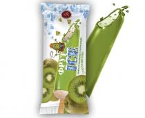 Ванильное мороженое с кусочками киви во фруктовой глазури