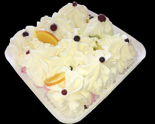 Торт-пломбир ванильный с шоколадной глазурью и фруктами