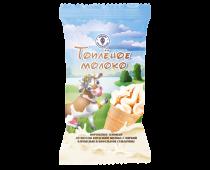 Мороженое пломбир со вкусом топленого молока с мягкой карамелью в вафельном стаканчике