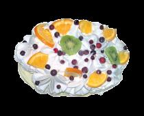 Торт-пломбир классика с фруктами овал