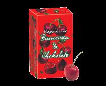 Пломбир ванильный с вишневым джемом и шоколадной крошкой